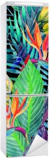 Adesivo per Frigorifero Pappagalli acquerello con fiori tropicali seamless pattern