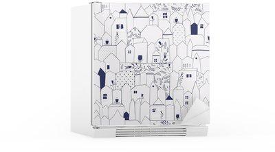Adesivo per Frigorifero Seamless pattern. Figura città in stile vintage.