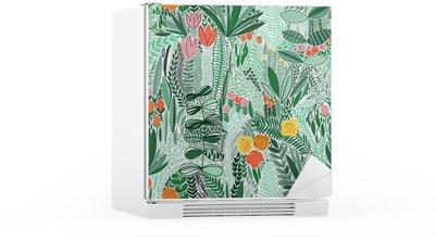 Adesivo per Frigorifero Tropical motivo floreale senza soluzione di continuità