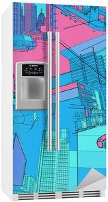 Adesivo per Frigorifero Vita urbana collage