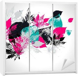 Adesivo per Guardaroba Abstract pattern senza soluzione di continuità con le foglie