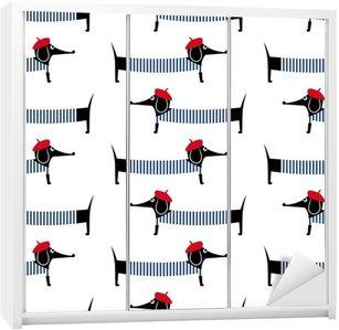 Adesivo per Guardaroba Cane stile francese seamless. Simpatico cartone animato illustrazione vettoriale parigino bassotto. Bambino disegno cucciolo stile di sfondo. Francese cane vestito stile con berretto rosso e abito a strisce.