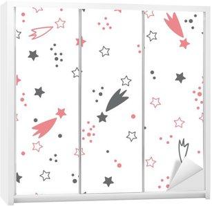 Adesivo per Guardaroba Carino seamless con le stelle. sfondo spazio