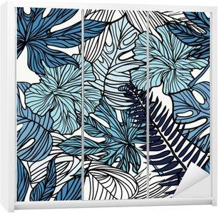 Adesivo per Guardaroba Fiori esotici tropicali e piante con foglie verdi di palme.