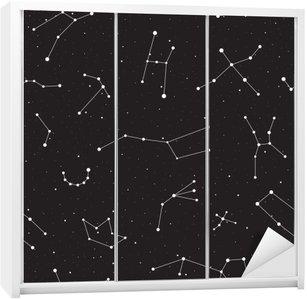 Adesivo per Guardaroba Notte stellata, seamless, fondo con stelle e costellazioni, illustrazione vettoriale
