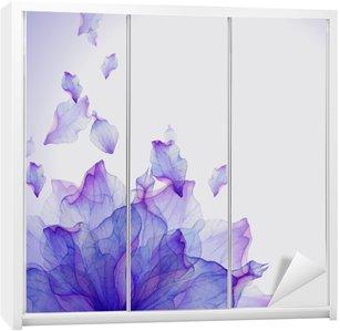 Adesivo per Guardaroba Scheda dell'acquerello con il petalo di fiore viola