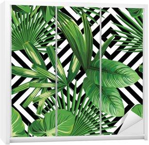 Adesivo per Guardaroba Tropicali foglie di palma modello, fondo geometrica