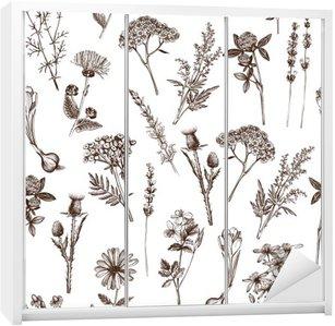 Adesivo per Guardaroba Vector seamless con inchiostro mano disegnata medicinali schizzo erbe