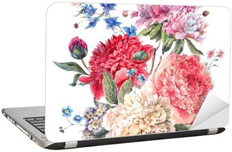 Adesivo per Laptop Cartolina d'auguri floreale Vintage con fioritura Peonie