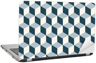 Adesivo per Laptop Cubi d'epoca 3d pattern di sfondo. vettore modello Retro.