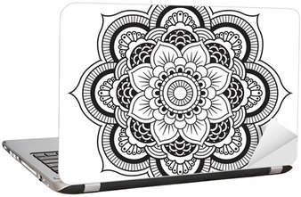 Adesivo per Laptop Mandala. Ornamento rotondo