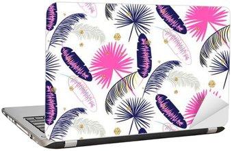 Adesivo per Laptop Rosa e blu Palm foglie di banano vettore modello senza soluzione di continuità su sfondo bianco. Tropical foglia giungla banana. puntini glitter.