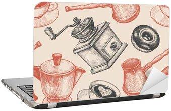 Adesivo per Laptop Seamless pattern è tutto il caffè.