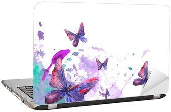 Adesivo per Laptop Sfondo acquarello astratto con le farfalle