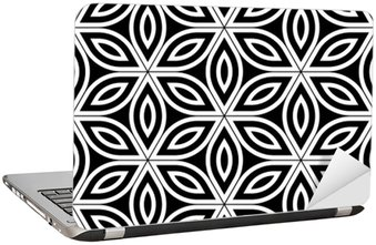 Adesivo per Laptop Vector moderno senza soluzione di modello Geometria Sacra, in bianco e nero astratto fiore geometrica di sfondo la vita, stampa carta da parati, in bianco e nero retrò tessitura, design di moda pantaloni a vita bassa