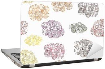 Adesivo per Laptop Vector seamless con autunno Doodle nuvole