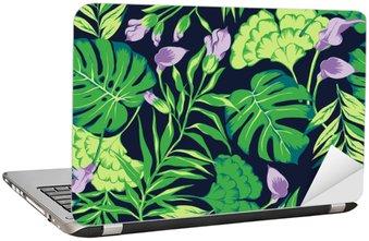 Adesivo per Laptop Vector seamless luminoso modello tropicale colorato con fiori, foglie spaccatura, filodendro, foresta pluviale natura, vacanze estate, tropici attivo background stampa