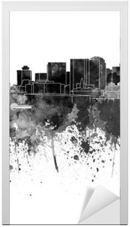 Adesivo per Porte Nashville skyline in acquerello nero su sfondo bianco