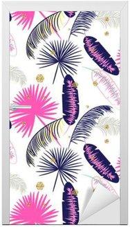 Adesivo per Porte Rosa e blu Palm foglie di banano vettore modello senza soluzione di continuità su sfondo bianco. Tropical foglia giungla banana. puntini glitter.