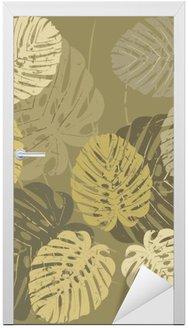 Adesivo per Porte Seamless pattern con foglie tropicali di Monstera
