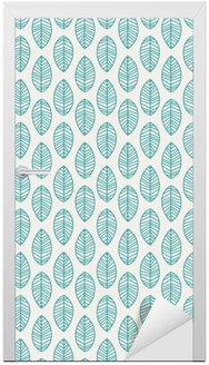 Adesivo per Porte Seamless pattern con foglie