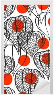 Adesivo per Porte Seamless pattern con physalis. Priorità bassa floreale astratta.