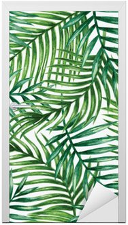 Adesivo per Porte Watercolor tropical palm leaves seamless pattern. Vector illustration.