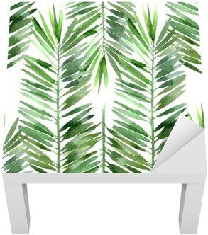 Adesivo per Tavolino Lack Acquarello foglia di palma senza soluzione di continuità