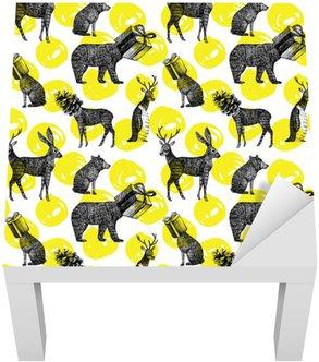 Adesivo per Tavolino Lack Disegnati a mano animali inverno senza soluzione di sfondo