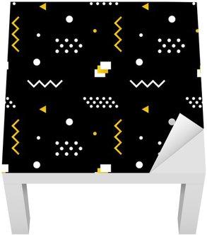 Adesivo per Tavolino Lack Forme geometriche moderne e di tendenza minimalista di fondo del modello senza soluzione di continuità nei colori bianco, nero e dorato.