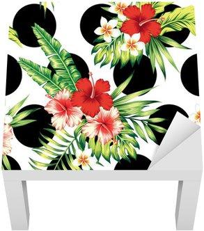Adesivo per Tavolino Lack Ibisco e foglie di palma modello