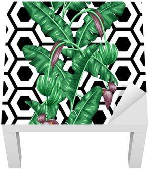 Adesivo per Tavolino Lack Seamless pattern con foglie di banano. Immagine decorativa di fogliame tropicali, fiori e frutti. Sfondo fatto senza maschera di ritaglio. Facile da usare per sfondo, tessile, carta da imballaggio