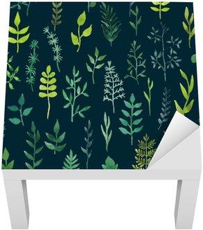Adesivo per Tavolino Lack Vector verde acquarello floreale seamless.