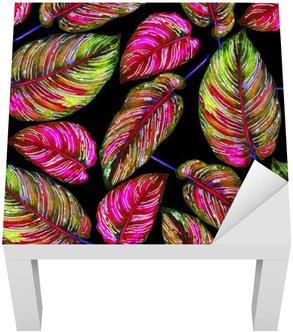 Adesivo per Tavolino Lack Vegetazione tropicale seamless. foglie colorate di pianta esotica Calathea Ornata su sfondo nero, i colori vibranti. illustrazione acquarello a mano.