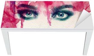 Adesivo per Tavolo & Scrivania Bella donna. acquerello illustrazione
