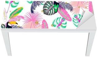 Adesivo per Tavolo & Scrivania Monstera tropico foglie delle piante rosa e tucano uccello senza soluzione di modello. modello natura esotica per tessuti, carta da parati o di capi di vestiario.