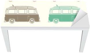 Adesivo per Tavolo & Scrivania Retro camper con a bordo il surf. Seamless pattern.