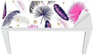 Adesivo per Tavolo & Scrivania Rosa e blu Palm foglie di banano vettore modello senza soluzione di continuità su sfondo bianco. Tropical foglia giungla banana. puntini glitter.