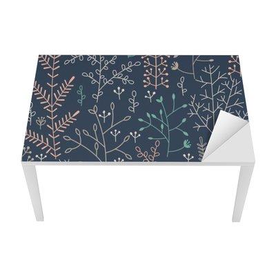 Adesivo per Tavolo & Scrivania Seamless con minimalista ornamento floreale