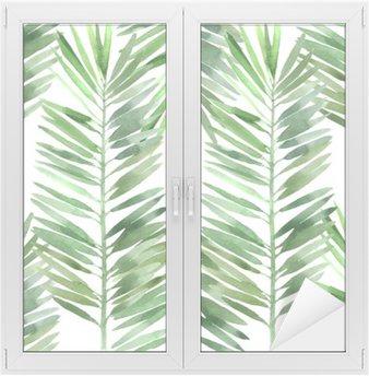 Adesivo per Vetri & Finestre Acquarello foglia di palma senza soluzione di continuità