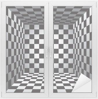 Adesivo per Vetri & Finestre Camera Plaid, cellule in bianco e nero, scacchiera 3d, disegno vettoriale sfondo
