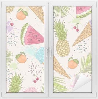 Adesivo per Vetri & Finestre Carino seamless con gelati, ananas. Vector backgr