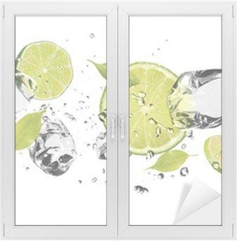 Adesivo per Vetri & Finestre Ghiaccio frutta su sfondo bianco