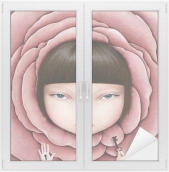 Adesivo per Vetri & Finestre Illustrazione concettuale o poster con la testa della ragazza in petalo di rosa con la chiave in mano.