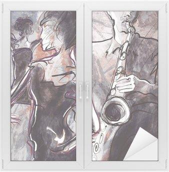 Adesivo per Vetri & Finestre Jazz band con ballerini
