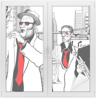 Adesivo per Vetri & Finestre Jazz band in una strada di New-York
