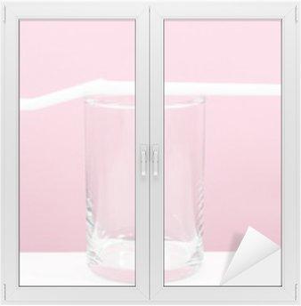 Adesivo per Vetri & Finestre Lo spazzolino da denti bianco con piccolo bicchiere per lavarsi i denti.