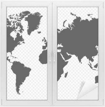 Adesivo per Vetri & Finestre Nero silhouette isolato World map file vettoriale EPS10.