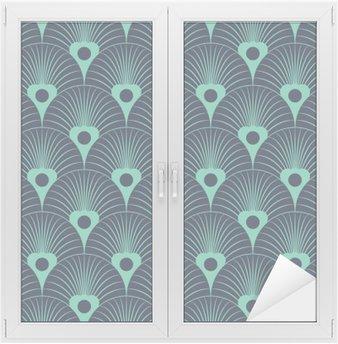 Adesivo per Vetri & Finestre Senza soluzione di continuità al neon blu art deco sovrapposizione floreale modello vettore