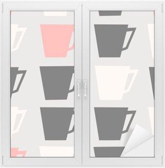 Adesivo per Vetri & Finestre Senza soluzione di continuità tazze di caffè pattern